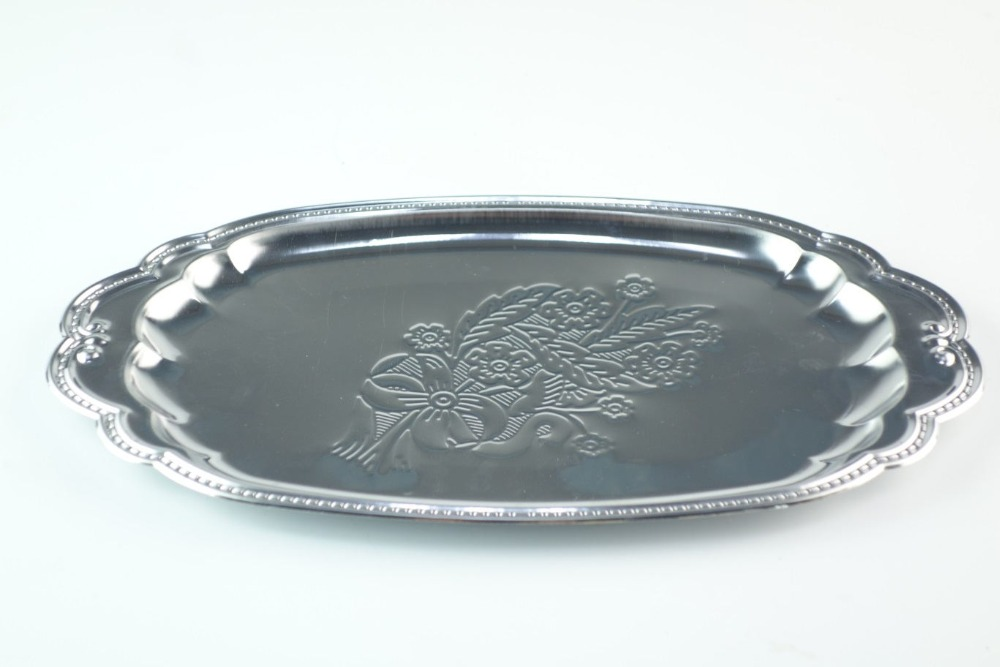 Round flower Grade stainless steel service plate/dish drainer tray