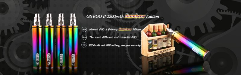 2016 new products colored GS 2200mah ego II Rainbow 2200mah battery ecig