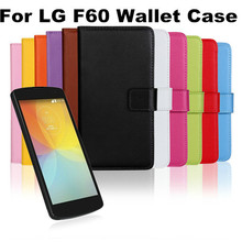 Wholesale 2015 New Listing Business Style Plain Pattern Mobile Phone Wallet Flip Leather Case For LG F60