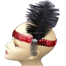 Hot fashion Sequin Headband with Feather and Jewel Detail