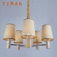 Yiman Lighting Oak Wood Fabrics Aluminum Beige Pendant Lamps