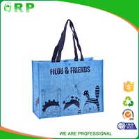 Recyclable eco bag laminated 100gsm handle pp non woven shopping bag