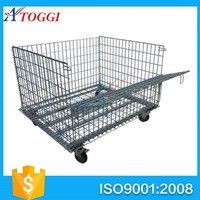 warehouse steel folding crate with wheels