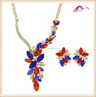 Women colorful rhinestone chunky necklace and earring,fashion custom crystal jewerly set
