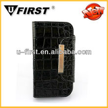 Phone accessories crocodile pattern wallet leather case for galaxy S4