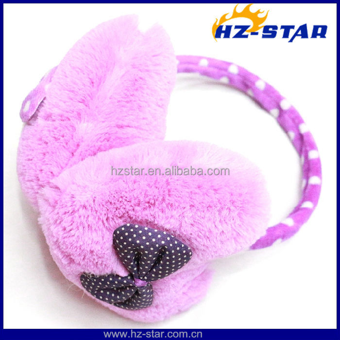 HZE-13085 Australia kids winter lovely pure color plush bowknot baby ear muffs