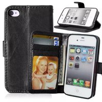 For Apple iPhone 4 4S Magnetic Flip PU Leather Wallet Case with Photo Frame Card Holder Smart Stand fundas 4G Mobile Phone Cover