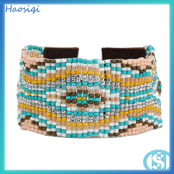 2016 HSQ-0646 Handmade charm jewelry wrap Japanese import beads snake texture bracelet latest design