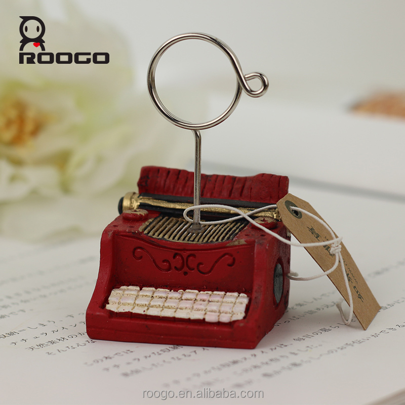 Roogo resin art craft vintage red typewriter shape picture frame holder for beautiful girls sex picture