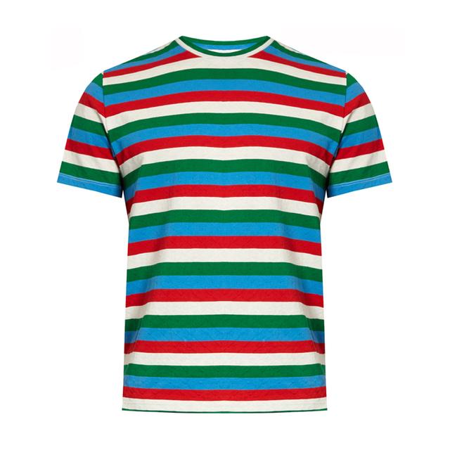 Fancy Stripe Design Custom New Model Men's Slim Fit Round Neck Cotton T-Shirt