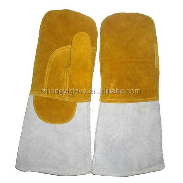 elbow length welding leather gloves reinforced leather gloves without fingers