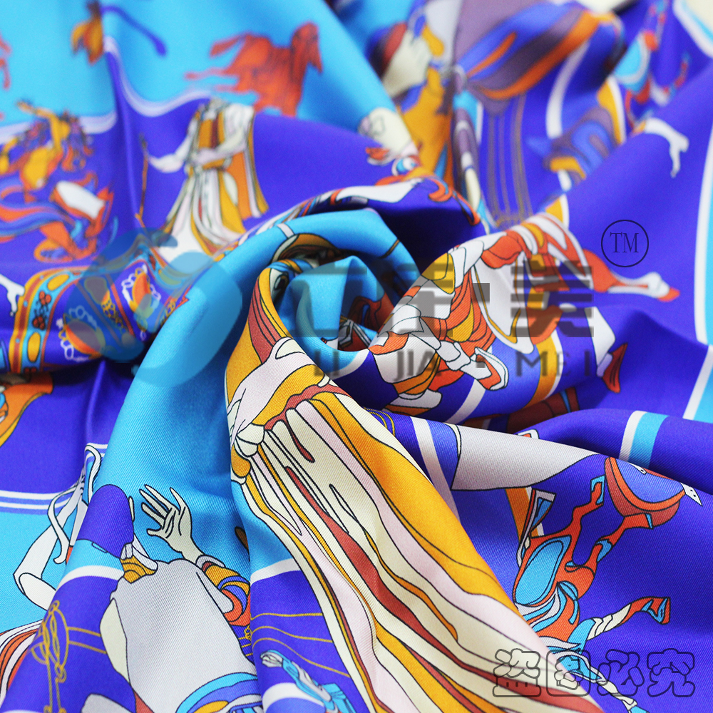 silk scarf custom digital print Twill Printed 100% Silk Twill Fabric for Lady Gift Italian Silk Fabric