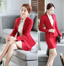 Long Sleeve flounce Women Skirt Suit Red Gray Mini Office Lady Skirt Suits