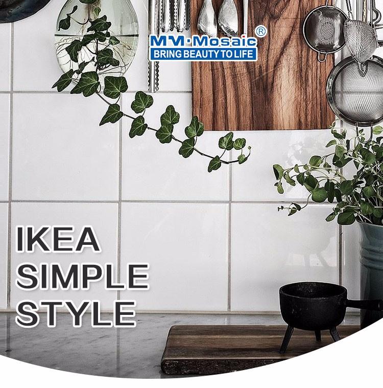 ikea pared del bao backsplash de la cocina diseo blanco puro de cermica x azulejos cuadrados