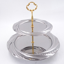 201 stainless steel fruit plates round shape fruit tray 3-tier dessert plate tray wedding cake stands