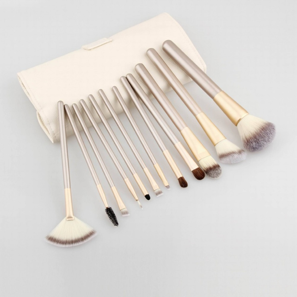 New White PU Leather Bag 12pcs make up brushes private label Makeup Brush set
