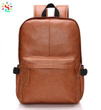 2017 pu leather fashion backpack men laptop computer backpack solid color student casual bag daypack
