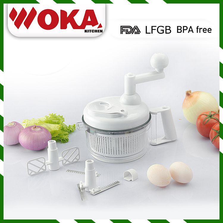 Multi food processor for vegetable cutter, food grater and plastic egg whisk