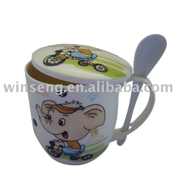 Porcelain elephant pattern mug with spoon set