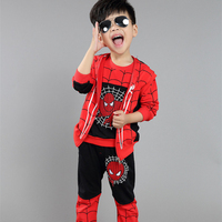 2015 New Boys Spiderman Clothing Sets With Zipper CoatAnd Print Tops And Pants Kids 3 pcs Sets Children Tracksuits CS81107-75