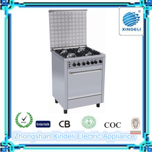 Free standing gas cooker with oven ,cast iron pan support ,cooking range with stainless steel body