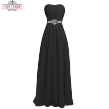 Ankle Length Strapless Black Chiffon Evening Gown Prom Dress
