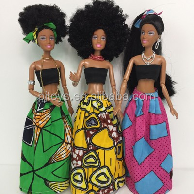 New plastic african black doll fashion black doll with moveable joint body