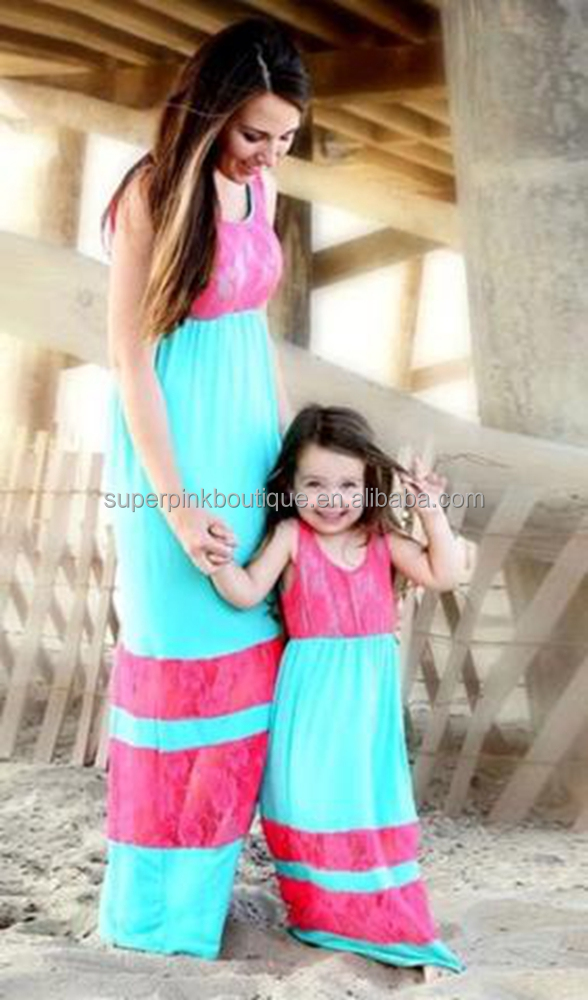 Mommy and me design long cotton girl lace maxi dress