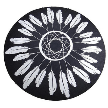 Custom pattern feather printing circle custom round cotton luxury beach towel