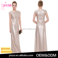 YISSA 2016 Women Rose Gold Sequin Dress Cap Sleeve Maxi Dress