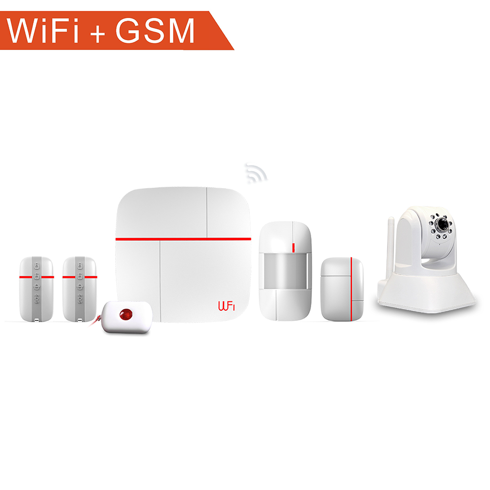 Wifi home gsm door sensor alarm system for diy monitoring with IP camera