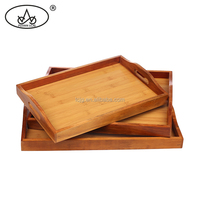 Factory price custom wooden tea serving tray serving platter with handles