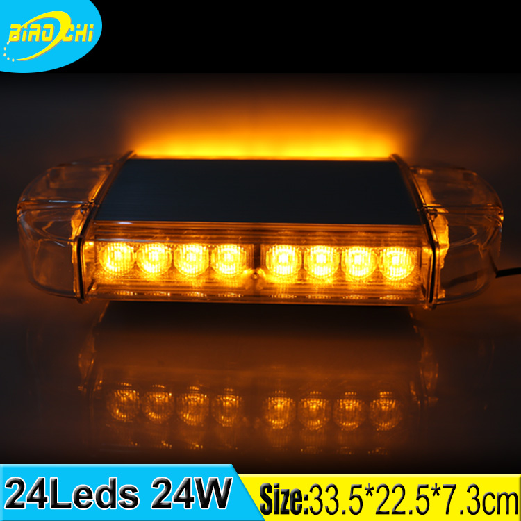Wholesale 24W emergency warning waterproof portable rotating magnetic car roof led mini light bar