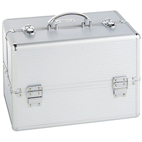 "Large Silver Makeup Cosmetic Organizer Train Case 14"" Professional Aluminum Storage Box with Lock"