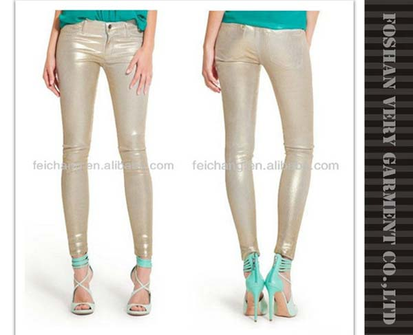 Hot sell coated legging denim jeans women