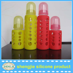 Alibaba promotional hot water bottle silicone covers heat resistance glass baby bottle covers