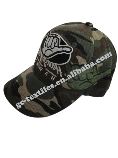 fashional 3D embriodery camo fabric baseball cap