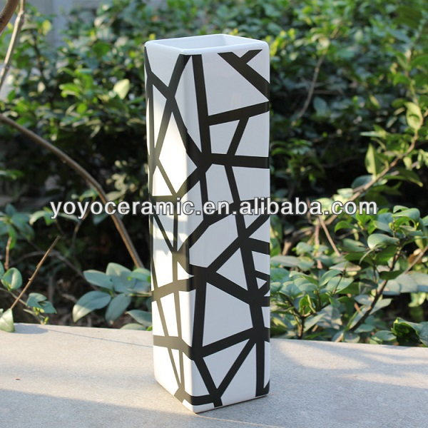 Rectangle Black and White Ceramic Flower Pot