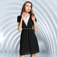 Black colour ladies western dress designs, silk formal dress
