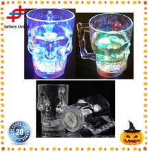 Plastic Flash Light Up Glowing Skull cup for Disco bar KTV