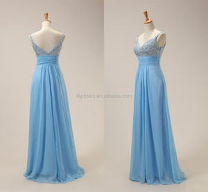 Light Blue Sexy Chiffon Beading Custom Made Designs Floor Length Long Evening Party Wear ED057 ladies evening western dresses