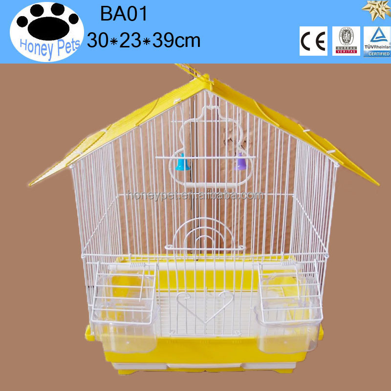 BA01 powder coated metal wire plastic tray house shape with outside feeder elegant antique bamboo decorative craft bird cages