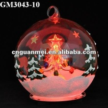 christmas led glass ball with star pattern and christmas tree inside