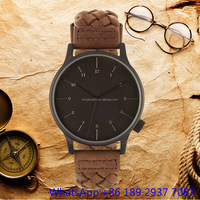 Top-quality alloy quartz watch with leather band,wood dial