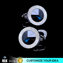 Fashion Hardware Silver Luxury Sapphire Blue Crystal Wedding Men Cufflinks for Unisex