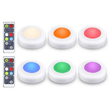 6 pack wireless <strong>rgb</strong> color led puck light battery