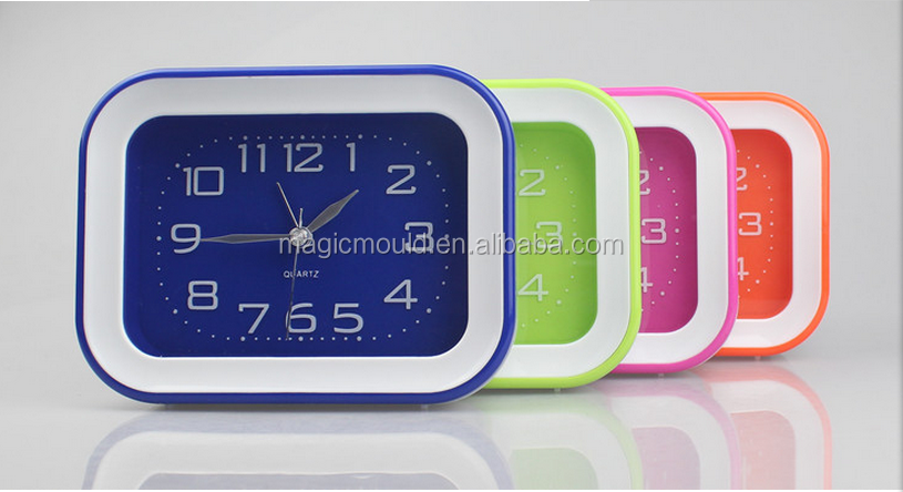 Professiona plastic alarm clock shell injection mould/New arrival rounded wall clock back shell plastic injection mold