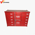 red painting vintage industrial handmade metal container cabinet