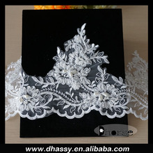Wholesale 100% polyester border embroidered French bridal beaded lace trim DHBL1541