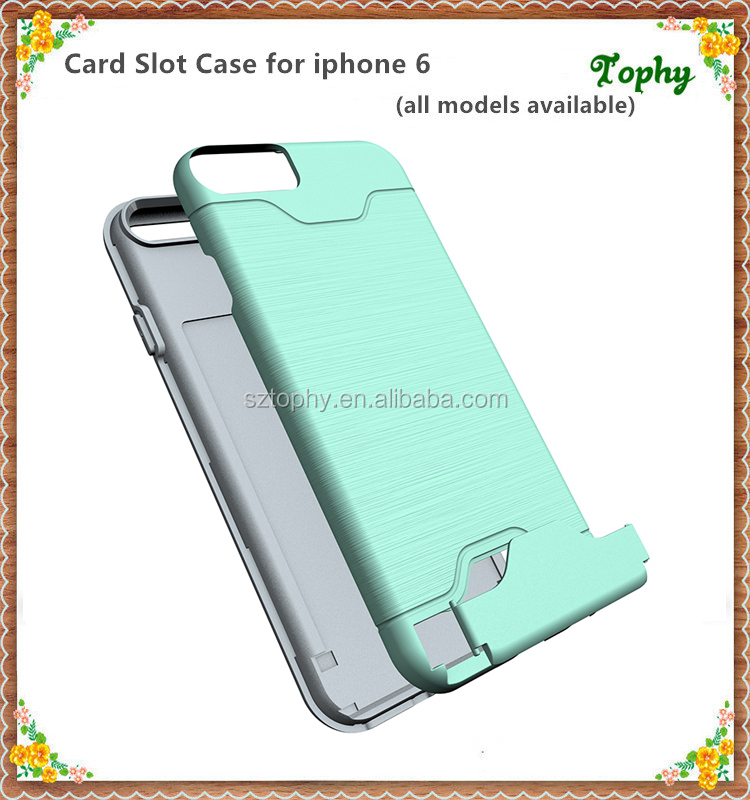 For iPhone 6 Card Slots Back Hard Case TPU PC Case For iPhone 6S